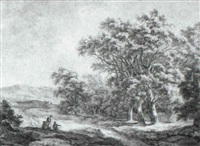 landscape with peasants seated beside a road by a wood by franciscus andreas milatz