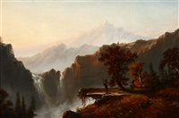 indians in a panoramic western landscape by charles lanman