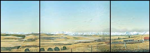 mountain prospect from turner valley on 3 attached parts by william bill h webb