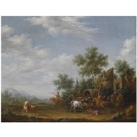 a landscape with travellers being ambushed outside a village by e. ruytenbach