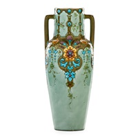 tall two-handled vase squeezebag-decorated with floral pattern by optat milet
