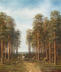 path through the pine forest by mikhail konstantinovich klodt von jurgensburg