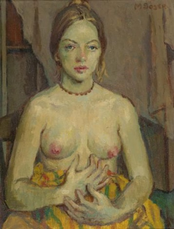 nude in brown necklace by moses soyer
