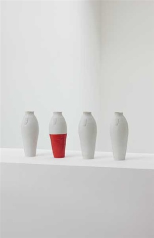 four tall vases, a unique installation by hella jongerius