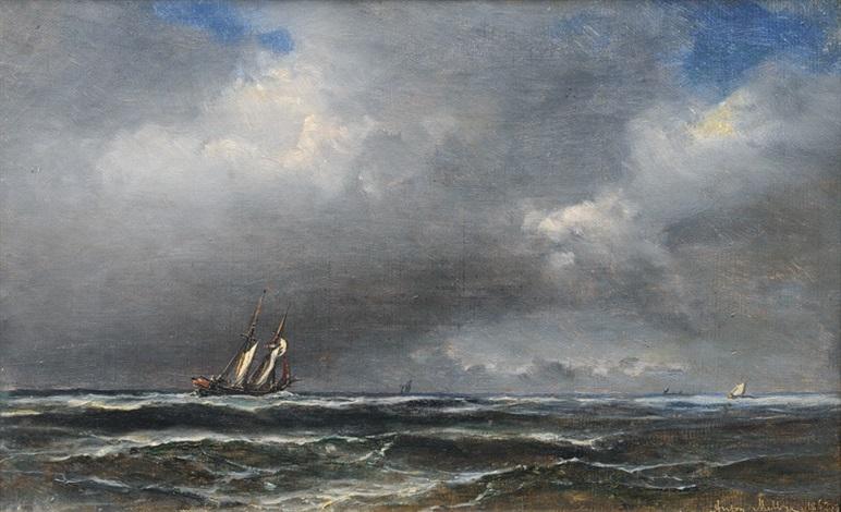 a storm rolling in by daniel hermann anton melbye
