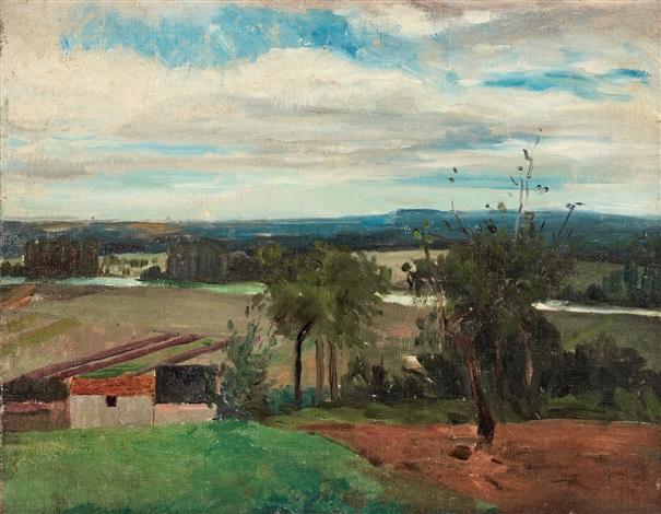 landskap från bois le roi landskap med träd och bondgård by carl fredrik hill