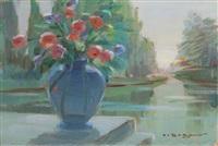 vaso di fiori con veduta by oscar sogaro