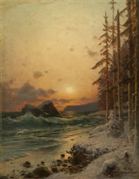 the northern coast in winter by petr alexanderovich sukhodol'sky