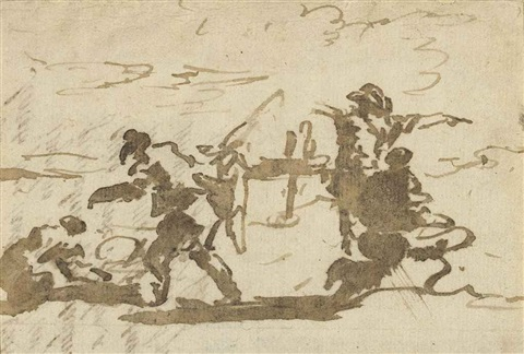 rapid studies of figures drawn on part of the back of a letter by francesco guardi