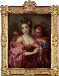 portrait of a lady as flora accompanied by zephyr by nicolas fouche