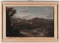 coppia di paesaggi (pair) by hendrick frans van lint