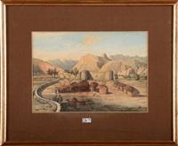 paysage animé au fort en afrique du nord by jean françois portaëls