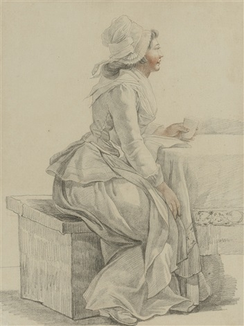a young woman of the revolution seated at a table in profile to the right by pierre alexandre wille