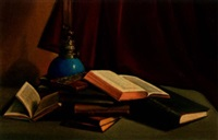books and lamp by giacomo tabellini