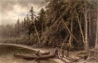 fishermen at a wooded shoreline by edward hill