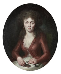 portrait of the princesse de lamballe, in a white silk dress and a red coat, seated, holding a locket by adélaïde labille-guiard