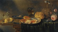 a still life with roses, a jug, a loaf of bread, a filled wine glass, two plates with prawns and crabs, a knife, a partly-peeled lemon and grapes over a partly-draped table by alexander adriaenssen the elder