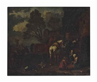 a soldier returning with horses before a city gate by philips wouwerman