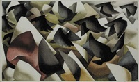 birds in flight over abstracted landscape by terence gayer
