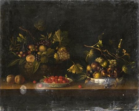 nature morte au panier à la coupe de fruits et à lassiette de framboises by paul dorival