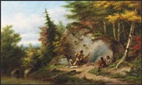 huron hunters at big rock by cornelius david krieghoff