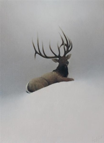bull elk in the mountains yellowstone national park by george d smith