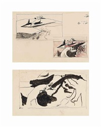 landscape studies: pages from a sketchbook (2 works) by graham sutherland