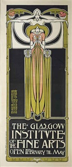 important poster for the glasgow institute of the fine arts by james herbert mcnair, margaret macdonald, and frances macdonald
