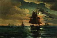 seascape with sailing ships off the castle kronborg by vilhelm victor bille