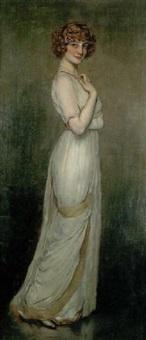 élégante en robe longue by antonio de la gandara