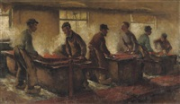 de krabbers - kantoenweverij, at the weaving-looms by alexander gerhard anton van rappard