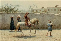 a man on a horse in an oriental city by willem de famars testas