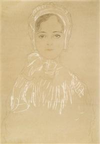 mädchenbrustbild von vorne mit häubchen (portrait of a girl with a hat) by gustav klimt