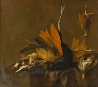 a peacock, hare, partridge, woodcock and songbirds on a draped table by elias vonck