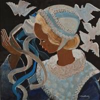fillette de plougastel aux colombes by andré mériel-bussy