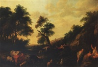 an italianate landscape with shepherds surprising nymphs bathing at a stream by franciscus xavery