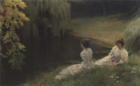 Elegant ladies at rest beside a pond by Louis Emile Adan on artnet