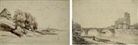 le pont et la cathédrale de mantes by alexandre-francois caminade
