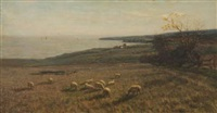 coastal landscape with grazing sheep by james campbell noble