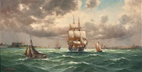 ships in the öresund by alfred jensen