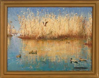ducks on a pond by harold matthews brett