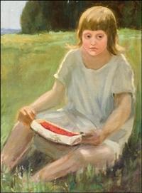 tyttö ja mansikkatuokkonen - flicka med jordgubbsriva by maria wiik