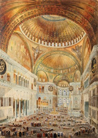 interior scenes of hagia sophia (3 works) by caspard fossati