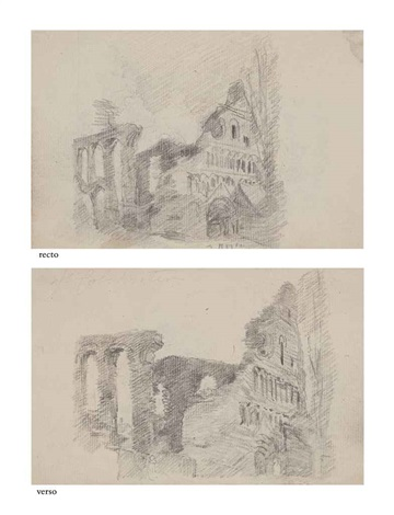 the ruins of st botolphs priory colchester recto and verso by john constable