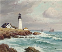 lighthouse on the coast (+ 1 other; 2 works) by h.h. howe