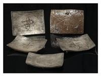 square plate five-pieces set by rosanjin kitaoji