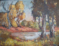 a landscape with trees and dam by eben van der merwe