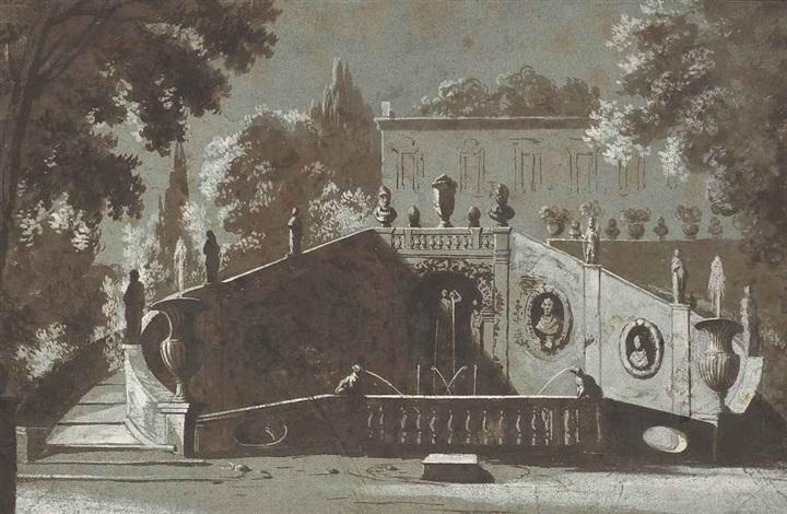 un jardin à litalienne avec une fontaine monumentale et une villa à larrière plan by etienne jeaurat