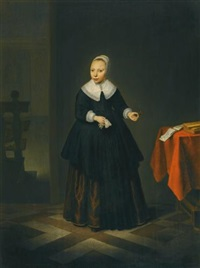 portrait of a girl, full-length, standing in an interior by isaack jacobsz. van hooren