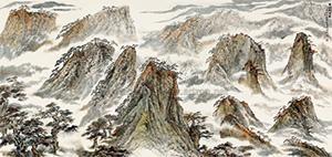 黄山秋韵图 4 works by huang xiangling